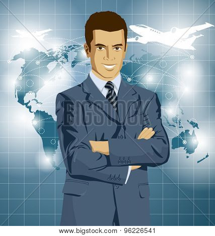 Vector Idea and travel concept. Business man with laptop in his hands. All layers well organized and easy to edit