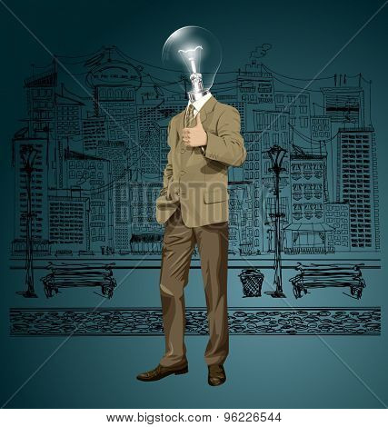 Vector hipster lamp head business man have an idea and shows well done on the sketch street