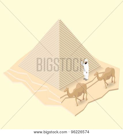 Vector 3d flat isometric egyptian pyramid with camel and bedouin