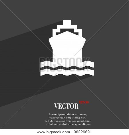 Ship Icon Symbol Flat Modern Web Design With Long Shadow And Space For Your Text. Vector
