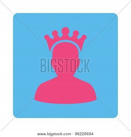 King Flat Icon From Award Buttons Overcolor Set