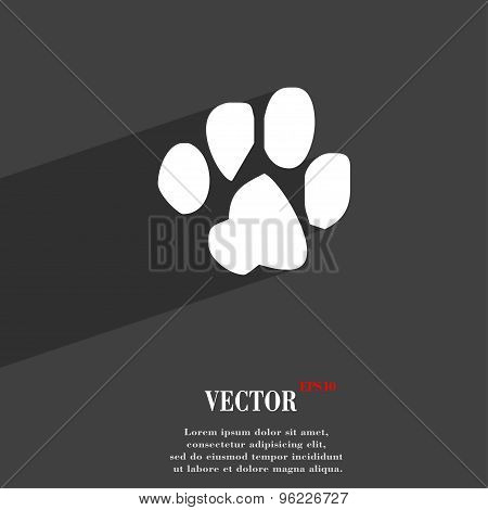 Trace Dogs Icon Symbol Flat Modern Web Design With Long Shadow And Space For Your Text. Vector