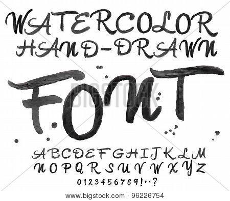 Vector Black Watercolor Font. Watercolour Handwritten Letters.