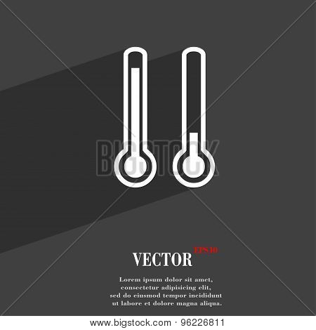 Thermometer Temperature Icon Symbol Flat Modern Web Design With Long Shadow And Space For Your Text.
