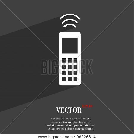 The Remote Control Icon Symbol Flat Modern Web Design With Long Shadow And Space For Your Text. Vect