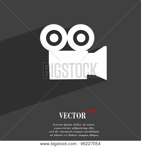 Video Camera Icon Symbol Flat Modern Web Design With Long Shadow And Space For Your Text. Vector