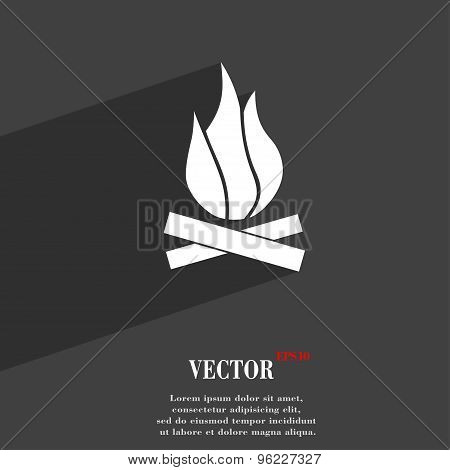 A Fire Icon Symbol Flat Modern Web Design With Long Shadow And Space For Your Text. Vector