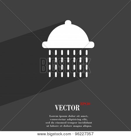 Shower Icon Symbol Flat Modern Web Design With Long Shadow And Space For Your Text. Vector