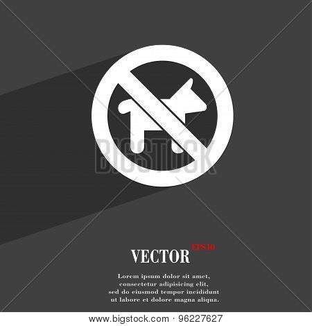 Dog Walking Is Prohibited Icon Symbol Flat Modern Web Design With Long Shadow And Space For Your Tex