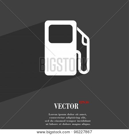 Auto Gas Station Icon Symbol Flat Modern Web Design With Long Shadow And Space For Your Text. Vector