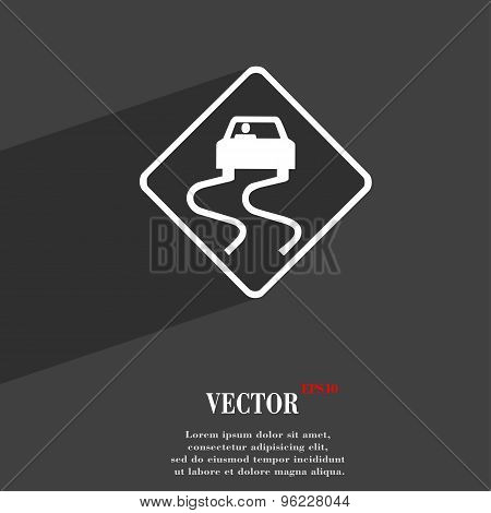 Road Slippery Icon Symbol Flat Modern Web Design With Long Shadow And Space For Your Text. Vector