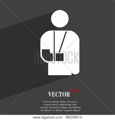 Broken Arm, Disability Icon Symbol Flat Modern Web Design With Long Shadow And Space For Your Text.