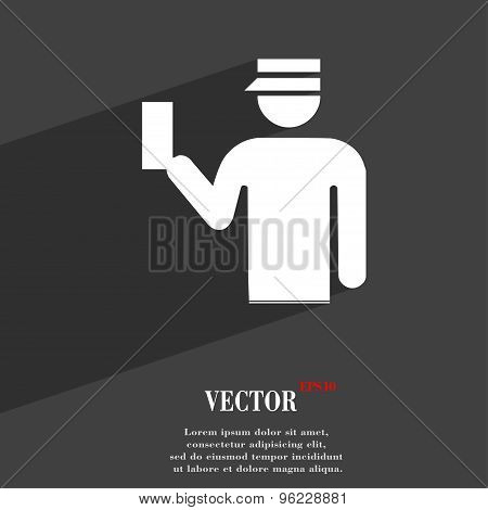 Inspector Icon Symbol Flat Modern Web Design With Long Shadow And Space For Your Text. Vector