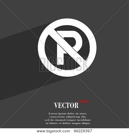 No Parking Icon Symbol Flat Modern Web Design With Long Shadow And Space For Your Text. Vector