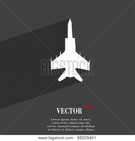 Fighter Icon Symbol Flat Modern Web Design With Long Shadow And Space For Your Text. Vector