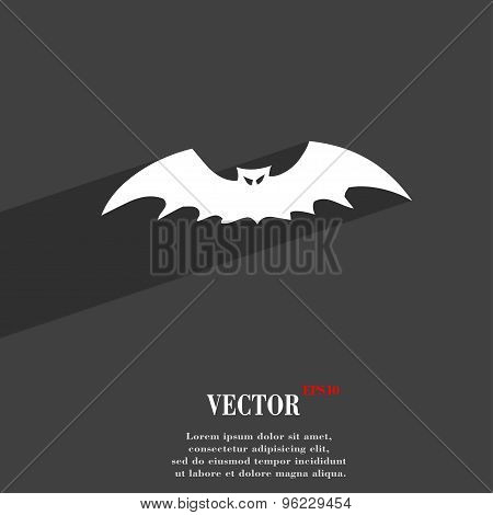 Bat Icon Symbol Flat Modern Web Design With Long Shadow And Space For Your Text. Vector