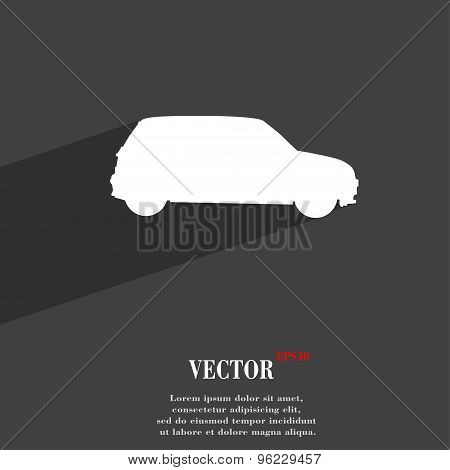 Jeep Icon Symbol Flat Modern Web Design With Long Shadow And Space For Your Text. Vector