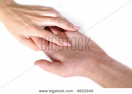 Woman And Man Hand Shake Togather. Isolated On White Background