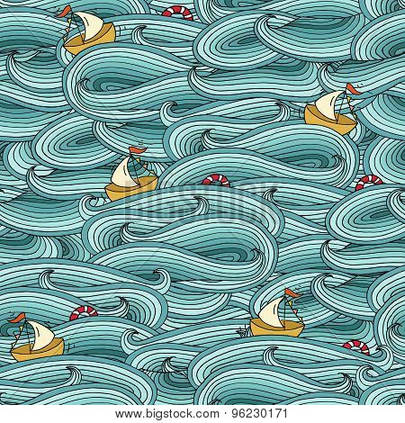 Seamless Pattern With Ship