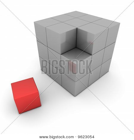 Big Grey Cube Of Blocks - One Red Box Separate