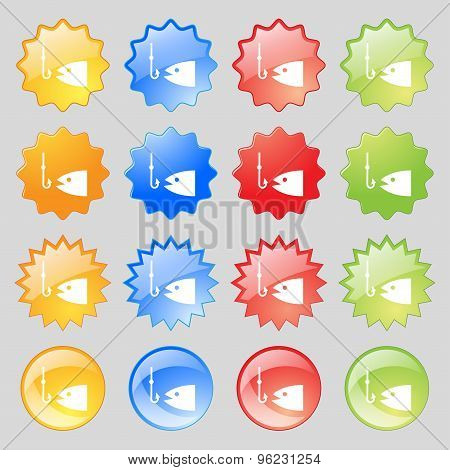 Fishing Icon Sign. Big Set Of 16 Colorful Modern Buttons For Your Design. Vector