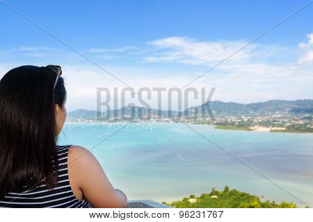 Woman Tourist Watching The Ocean In Phuket, Thailand