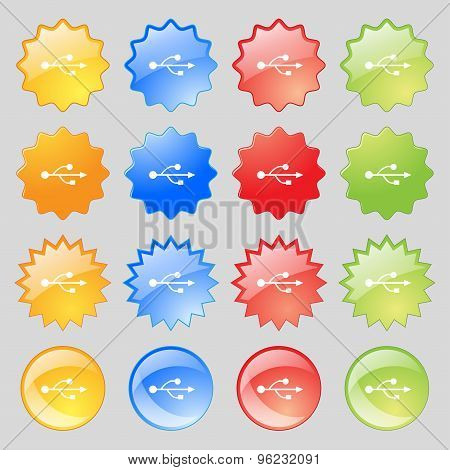 Usb Icon Sign. Big Set Of 16 Colorful Modern Buttons For Your Design. Vector