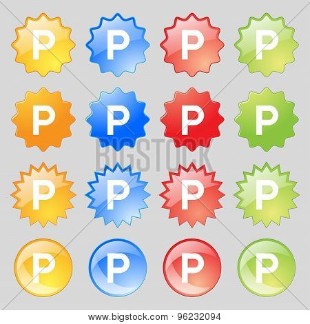 Parking Icon Sign. Big Set Of 16 Colorful Modern Buttons For Your Design. Vector