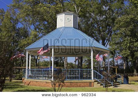 Gazebo With American Flags