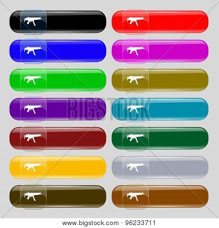Machine Gun Icon Sign. Set From Fourteen Multi-colored Glass Buttons With Place For Text. Vector