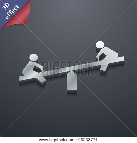 Swing Icon Symbol. 3D Style. Trendy, Modern Design With Space For Your Text Vector