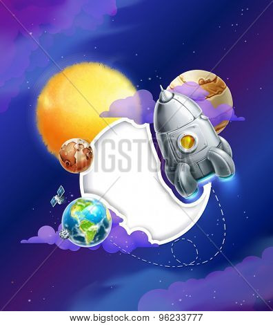 Space background with white frame vector illustration