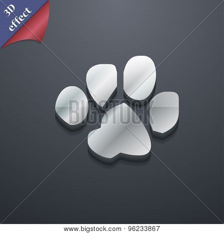 Trace Dogs Icon Symbol. 3D Style. Trendy, Modern Design With Space For Your Text Vector