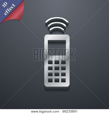 The Remote Control Icon Symbol. 3D Style. Trendy, Modern Design With Space For Your Text Vector