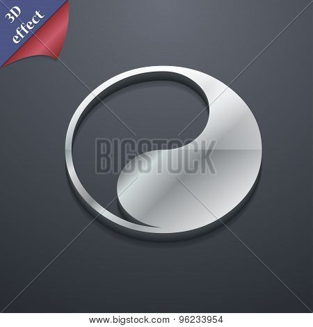 Yin Yang Icon Symbol. 3D Style. Trendy, Modern Design With Space For Your Text Vector