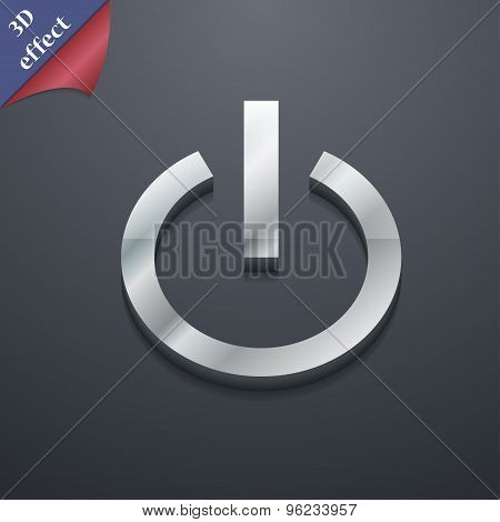 Power Icon Symbol. 3D Style. Trendy, Modern Design With Space For Your Text Vector