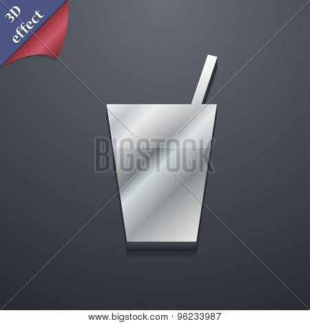 Cocktail Icon Symbol. 3D Style. Trendy, Modern Design With Space For Your Text Vector