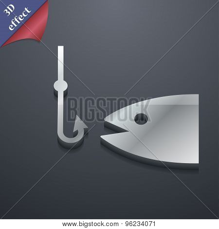 Fishing Icon Symbol. 3D Style. Trendy, Modern Design With Space For Your Text Vector