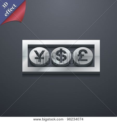 Cash Currency Icon Symbol. 3D Style. Trendy, Modern Design With Space For Your Text Vector