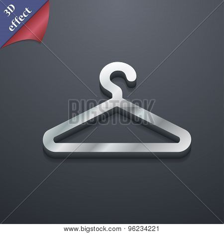 Clothes Hanger Icon Symbol. 3D Style. Trendy, Modern Design With Space For Your Text Vector