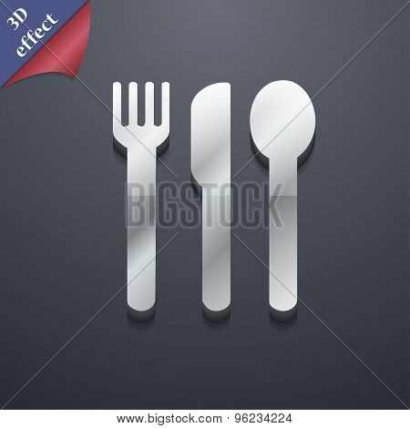 Fork, Knife, Spoon Icon Symbol. 3D Style. Trendy, Modern Design With Space For Your Text Vector