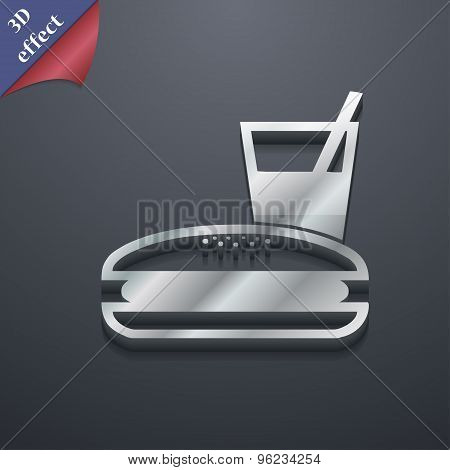 Lunch Box Icon Symbol. 3D Style. Trendy, Modern Design With Space For Your Text Vector