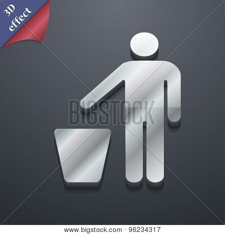 Throw Away The Trash Icon Symbol. 3D Style. Trendy, Modern Design With Space For Your Text Vector