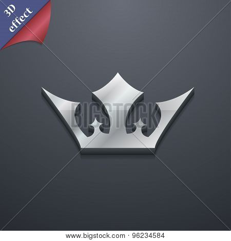 Crown Icon Symbol. 3D Style. Trendy, Modern Design With Space For Your Text Vector