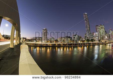 Brisbane Cityscape twilight from William Jolly bridge