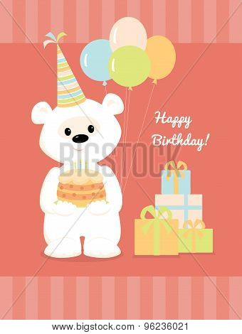 White Teddy Bear With Cake, Balloons And Presents.