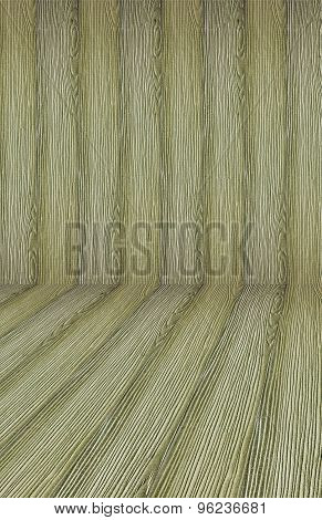 Background old wood curved wood parquet wood interior arches.