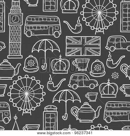 Seamless background with cute hand drawn cartoon objects on London theme: queen crown, red bus, big
