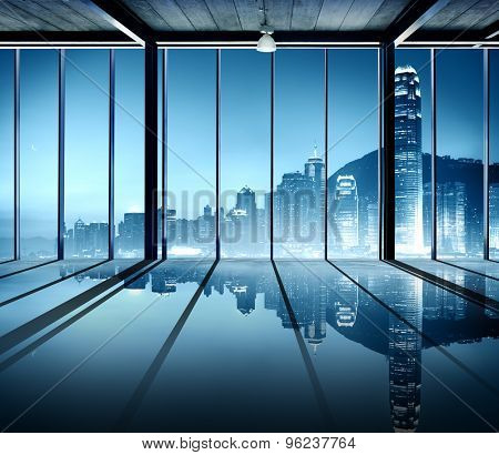 Office Cityscape Buildings Contemporary Interior Room Modern Concept