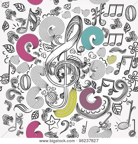 Vector Seamless Pattern With Doodle Music Elements